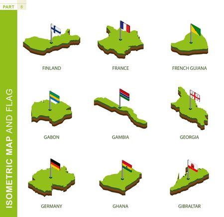 Set von 9 isometrischen Karten und Flaggen, 3D-Vektor-isometrische Form von Finnland, Frankreich, Französisch-Guayana, Gabun, Gambia, Georgien, Deutschland, Ghana, Gibraltar