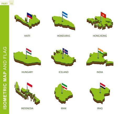 Ensemble de 9 cartes et drapeau isométriques, forme isométrique vectorielle 3D d'Haïti, du Honduras, de Hong Kong, de la Hongrie, de l'Islande, de l'Inde, de l'Indonésie, de l'Iran, de l'Irak Vecteurs
