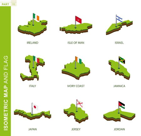 Set van 9 isometrische kaart en vlag, 3D-vector isometrische vorm van Ierland, Isle of Man, Israël, Italië, Ivoorkust, Jamaica, Japan, Jersey, Jordanië