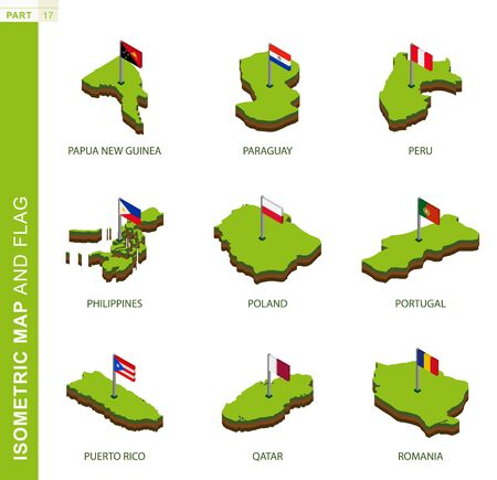 Set of 9 isometric map and flag, 3D vector isometric shape of Papua New Guinea, Paraguay, Peru, Philippines, Poland, Portugal, Puerto Rico, Qatar, Romania