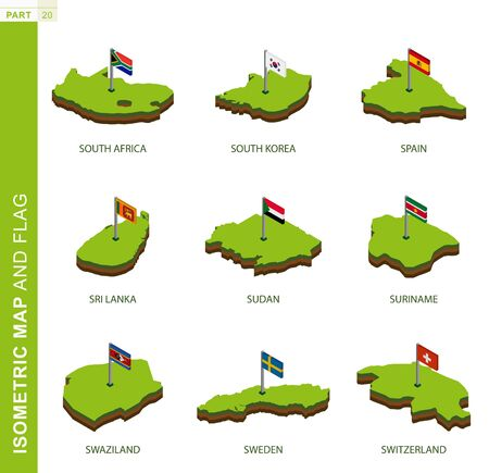 Set of 9 isometric map and flag, 3D vector isometric shape of South Africa, South Korea, Spain, Sri Lanka, Sudan, Suriname, Swaziland, Sweden, Switzerland