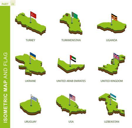 Set of 9 isometric map and flag, 3D vector isometric shape of Turkey, Turkmenistan, Uganda, Ukraine, United Arab Emirates, United Kingdom, Uruguay, USA, Uzbekistan Illustration