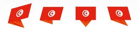 Flag of Tunisia in modern abstract design, vector flag set.