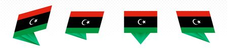 Flag of Libya in modern abstract design, vector flag set. Illustration