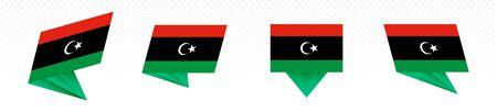 Flag of Libya in modern abstract design, vector flag set. Illustration