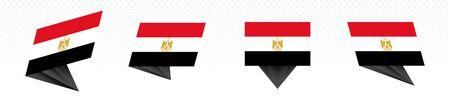 Flag of Egypt in modern abstract design, vector flag set.