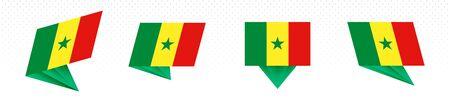 Flag of Senegal in modern abstract design, vector flag set.