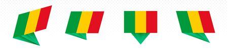 Flag of Mali in modern abstract design, vector flag set. Illustration