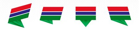 Flag of Gambia in modern abstract design, vector flag set. Illustration