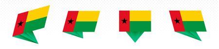 Flag of Guinea-Bissau in modern abstract design, vector flag set.