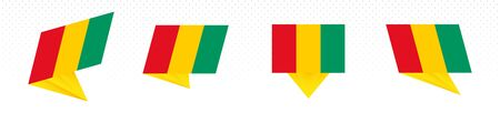 Flag of Guinea in modern abstract design, vector flag set.