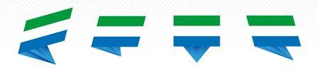 Flag of Sierra Leone in modern abstract design, vector flag set. 일러스트