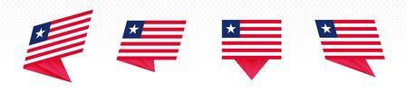 Flag of Liberia in modern abstract design, vector flag set.