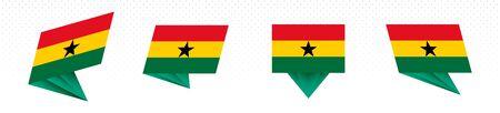 Flag of Ghana in modern abstract design, vector flag set. 일러스트