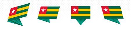 Flag of Togo in modern abstract design, vector flag set. Illustration