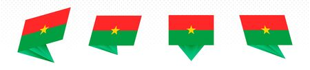 Flag of Burkina Faso in modern abstract design, vector flag set.