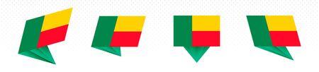 Flag of Benin in modern abstract design, vector flag set. 일러스트