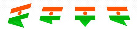 Flag of Niger in modern abstract design, vector flag set. Illustration