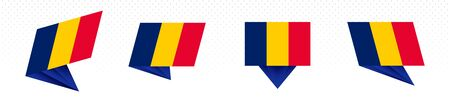 Flag of Chad in modern abstract design, vector flag set. 일러스트