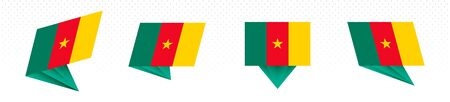 Flag of Cameroon in modern abstract design, vector flag set.