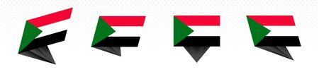 Flag of Sudan in modern abstract design, vector flag set. Illustration