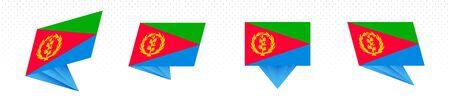 Flag of Eritrea in modern abstract design, vector flag set.