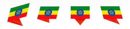 Flag of Ethiopia in modern abstract design, vector flag set. 일러스트