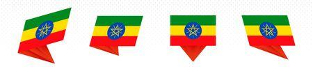 Flag of Ethiopia in modern abstract design, vector flag set. Illustration