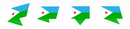 Flag of Djibouti in modern abstract design, vector flag set. 일러스트