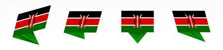 Flag of Kenya in modern abstract design, vector flag set. 일러스트