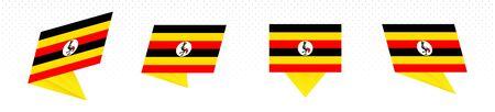 Flag of Uganda in modern abstract design, vector flag set.