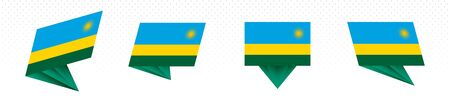Flag of Rwanda in modern abstract design, vector flag set.