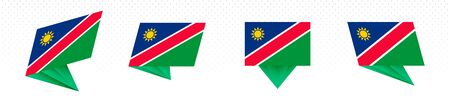 Flag of Namibia in modern abstract design, vector flag set.
