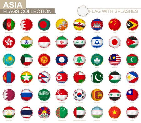 Flag collection of Asia, round grunge flag with splashes. Asian vector flag.