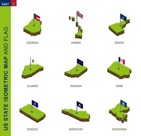 Set of 9 isometric US state maps and flags, 3D vector isometric shape of Georgia, Hawaii, Idaho, Illinois, Indiana, Iowa, Kansas, Kentucky, Louisiana