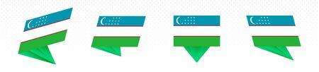 Flag of Uzbekistan in modern abstract design, vector flag set. Stock Illustratie