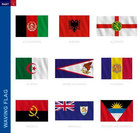 Waving flag collection in official proportion. 9 vector flags: Afghanistan, Albania, Alderney, Algeria, American Samoa, Andorra, Angola, Anguilla, Antigua and Barbuda Illustration