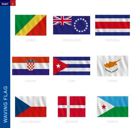 Waving flag collection in official proportion. 9 vector flags: Congo, Cook Islands, Costa Rica, Croatia, Cuba, Cyprus, Czech Republic, Denmark, Djibouti