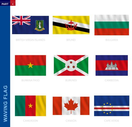 Waving flag collection in official proportion. 9 vector flags: British Virgin Islands, Brunei, Bulgaria, Burkina Faso, Burundi, Cambodia, Cameroon, Canada, Cape Verde 向量圖像