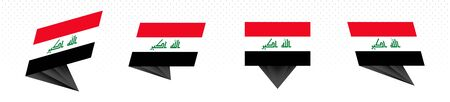 Flag of Iraq in modern abstract design, vector flag set.