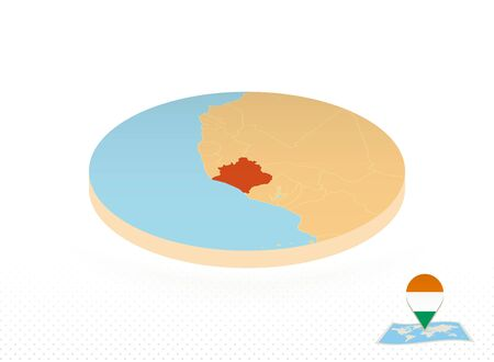 Ivory Coast map designed in isometric style, orange circle map of Ivory Coast for web, infographic and more. Vectores