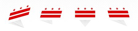 Flag of District of Columbia in modern abstract design, vector flag set.