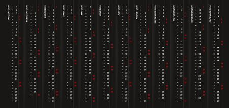 Vertical calendar 2020 on black background, Saturday and Sunday selected in different row. Vector template.  イラスト・ベクター素材