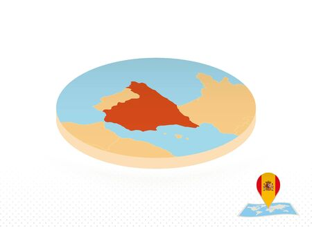 Spain map designed in isometric style, orange circle map of Spain for web, infographic and more.