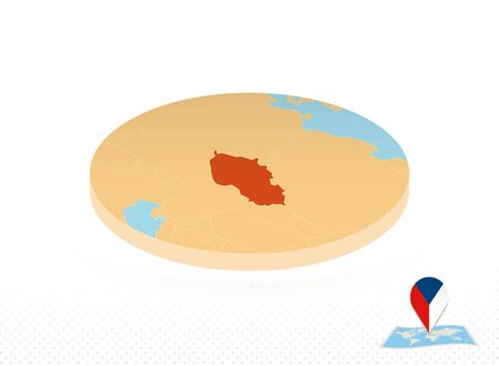 Czech Republic map designed in isometric style, orange circle map of Czech Republic for web, infographic and more.
