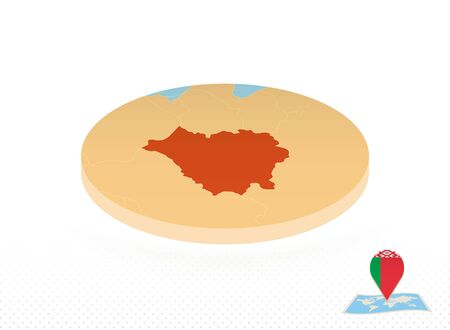 Belarus map designed in isometric style, orange circle map of Belarus for web, infographic and more.