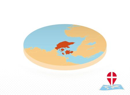 Denmark map designed in isometric style, orange circle map of Denmark for web, infographic and more.