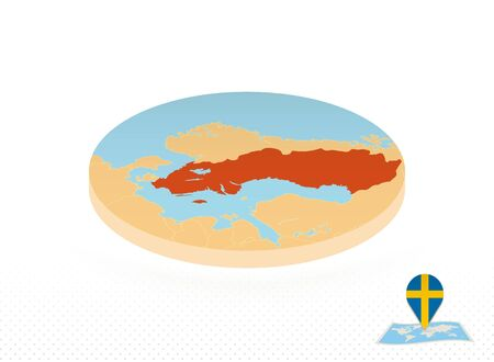 Sweden map designed in isometric style, orange circle map of Sweden for web, infographic and more. 向量圖像