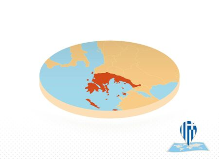 Greece map designed in isometric style, orange circle map of Greece for web, infographic and more.