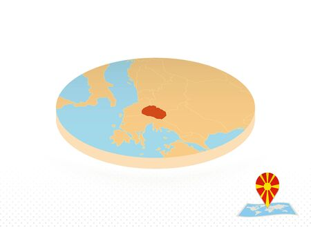 Macedonia map designed in isometric style, orange circle map of Macedonia for web, infographic and more.